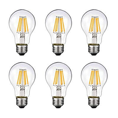 Vintage Edison LED Bulb, Dimmable 6W A19 Antique LED Bulb, 60 Watt Equivalent for Ceiling Fan and Pendant Lighting, E26 Clear Glass Cover, Soft Warm White 2700k, 550LM, Pack of 6