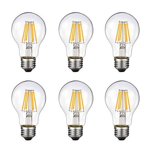 Vintage Edison LED Bulb, Dimmable 6W A19 Antique LED Bulb, 60 Watt Equivalent for Ceiling Fan and Pendant Lighting, E26 Clear Glass Cover, Soft Warm White 2700k, 550LM, Pack of 6]()