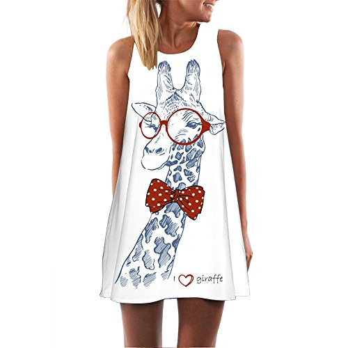 Women Crew Neck Sundress Casual Sleeveless Mini Dress T Shirt Mini Dress Loose Tanks Dress Giraffe Print Tunics Dress (White, M)