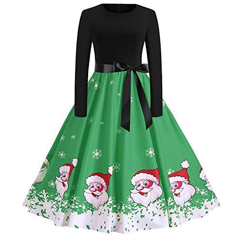 Women's Vintage Print Long Sleeve Christmas Evening Party Swing Dress -