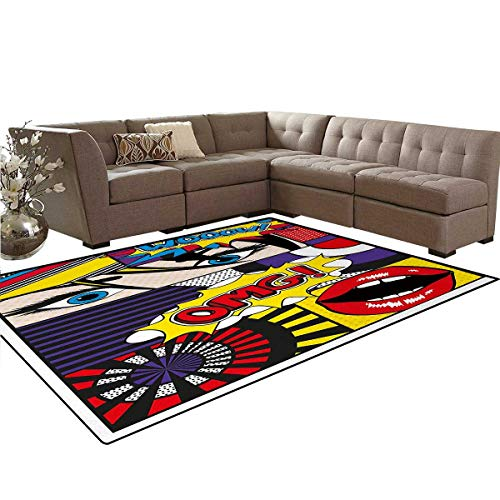 Art,Carpet,Comic Book Inspired Style Wooow OMG Eyes Reading Panels Lines Excitement Action Print,Non Slip ()