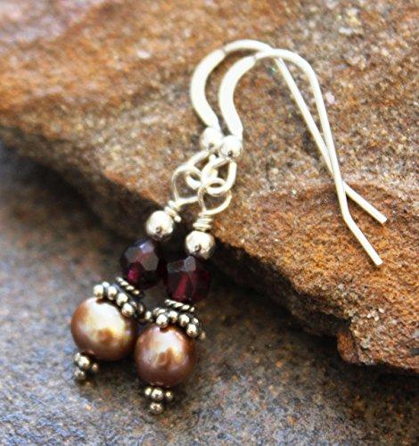 (Garnet & Sand Freshwater Pearl Earrings, Sterling Silver)