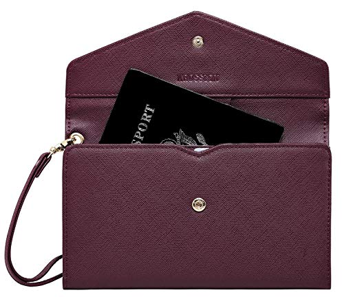 Krosslon Rfid Travel Passport Wallet for Women Slim Holder Wristlet Document Organizer, 218# Burgundy