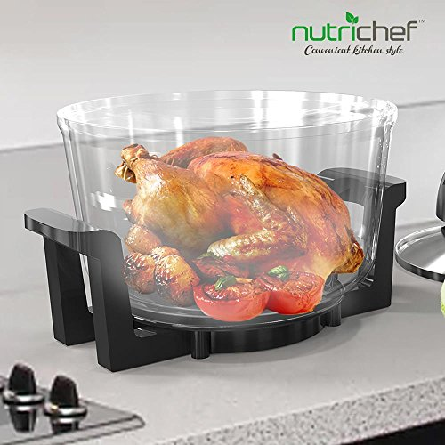 NutriChef Convection Countertop Toaster Oven – Healthy Kitchen Air Fryer Roaster Oven, Bake, Grill, Steam Broil, Roast & Air-Fry , Includes Glass Bowl, Broil Rack and Toasting Rack, 120V – PKCOV45