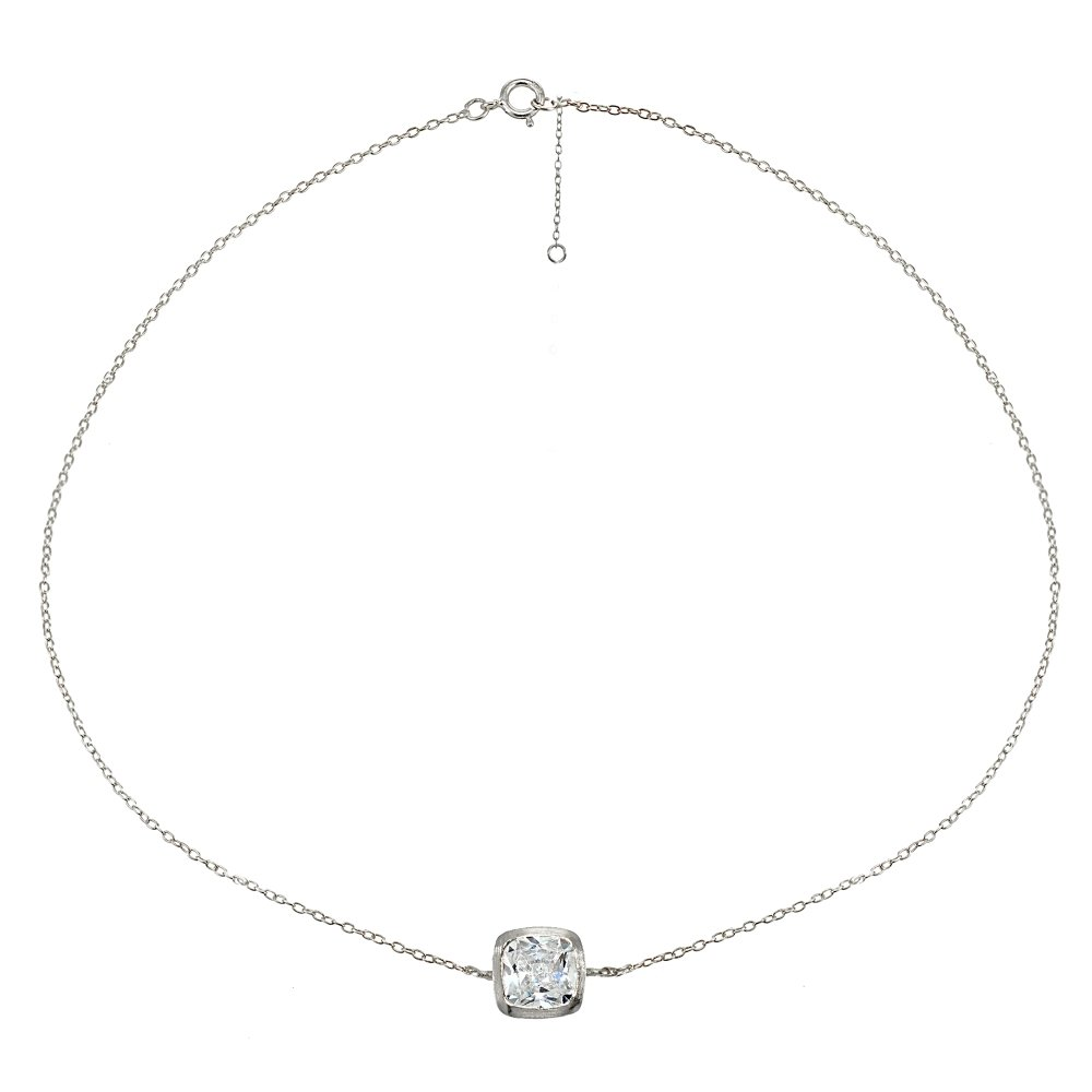 Sterling Silver Cubic Zirconia Cushion-cut Bezel-Set Chain Anklet