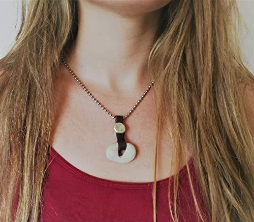 Natural Wish Hag Stone Necklace for Women, Minimalist Modern Odin Stone Cameo, Spiritual Jewelry