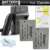Batería y cargador de 2 paquetes para Canon PowerShot SX40 HS, SX50 HS, SX50HS, G15, PowerShot G16, SX60HS, SX60 HS, G3 X Cámara digital que incluye 2 baterías NB-10L de reemplazo extendido más cargador