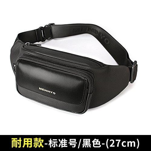 Landona Pockets Men Cow Leather Shoulder Bag Male Chest Pack Bag Man Messenger Bag Large Capacity New Casual Men Durable Models - Standard / Black - (27cm)
