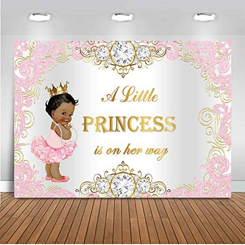 Mehofoto Royal Princess Baby Shower Backdrop Pink Silver Diamond Baby Shower Background 7x5ft Vinyl Girl s Baby Shower Party Banner Decoration Supplies