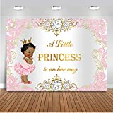 Mehofoto Royal Princess Baby Shower Backdrop Pink Silver Diamond Baby Shower Background 7x5ft Vinyl Girl's Baby Shower Party Banner Decoration Supplies