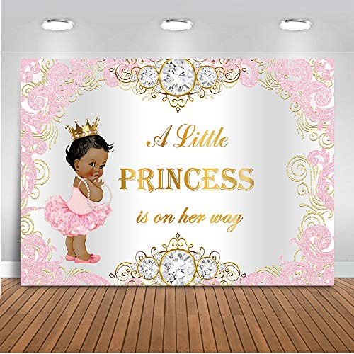 Mehofoto Royal Princess Baby Shower Backdrop Pink Silver Diamond Baby Shower Background 7x5ft Vinyl Girl's Baby Shower Party Banner Decoration Supplies ()