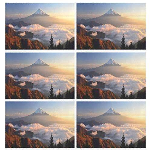 Cocoa trade Heat Resistant Placemats for Kitchen Table Mats Dining Room,Mount Fuji Fog Washable Insulation Non Slip Placemat 12x18 inch(6 pcs) -
