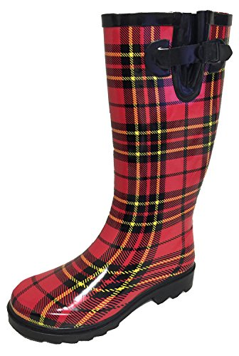 G4U Womens Rain Boots Multiple Styles Color Mid Calf Wellies Buckle Fashion Rubber Knee High Snow Shoes Red/Black Plaid NTlfFo