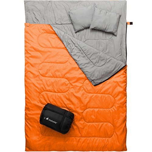 MalloMe Double Camping Sleeping Bag - 3 Season Warm & Cool Weather - Summer, Spring, Fall, Lightweight, Waterproof For Adults & Kids - Camping Gear Equipment, Traveling, and Outdoors - 2 Free Pillows! (Double Bag Sleeping)