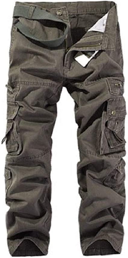 sayahe Mens Pure Casual Fit Multi-pocket Outdoor Cargo Pants