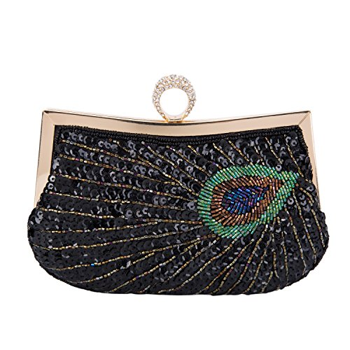 Women Purse Bridal Gift VESIA Clutches for her Evening Black Bags Sequins Beads Handbags and Embroidered Green Birthday Tote Party for dfXwf7