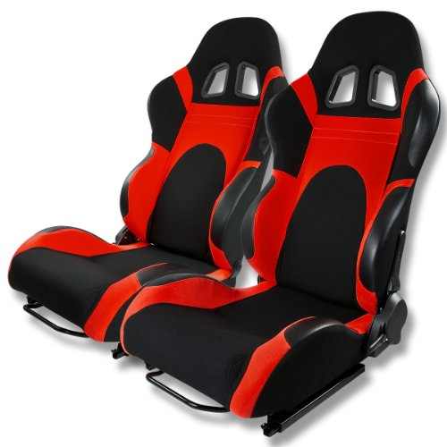 Universal Full-Reclinable Black & Red Sport Racing Seats With Black Trim (Set of 2)