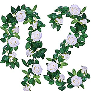 Supla 2 Pack 11.4' Long Rose Garlands Artificial Rose Vine Flowers Plants White Rose Garland Hanging Rose Ivy Garlands for Baby Shower Birthday Party Wedding Arch Backdrop Garden Decor(White) 35