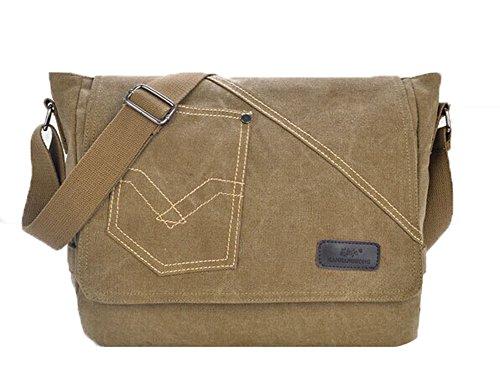 Genda 2Archer Bolsillos de Lona del Hombro Messenger Bag del Bolso MJH-1187 (Ejercito Verde) Caqui