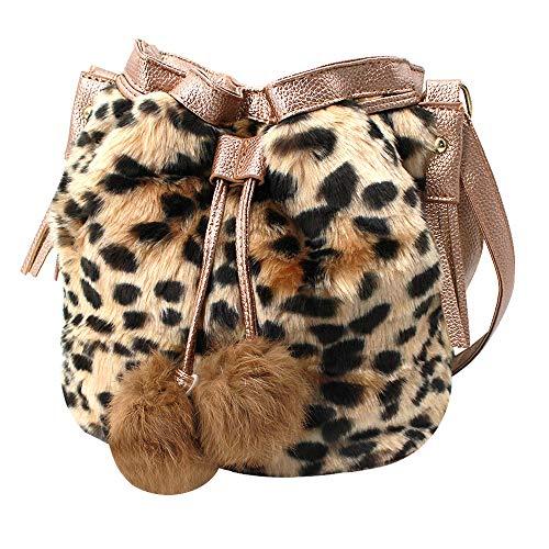 Van Caro Women's Faux Fur Drawstring Bucket Bag Shoulder for sale  Delivered anywhere in USA
