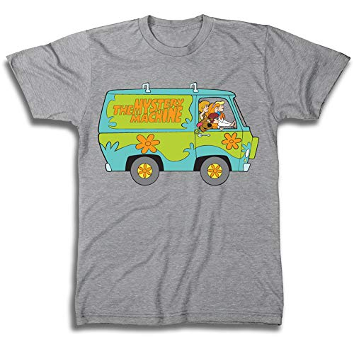 Scooby Doo Mens Throwback Shirt, Shaggy, Velma Tee - Throwback Classic T-Shirt (Heather Grey, -