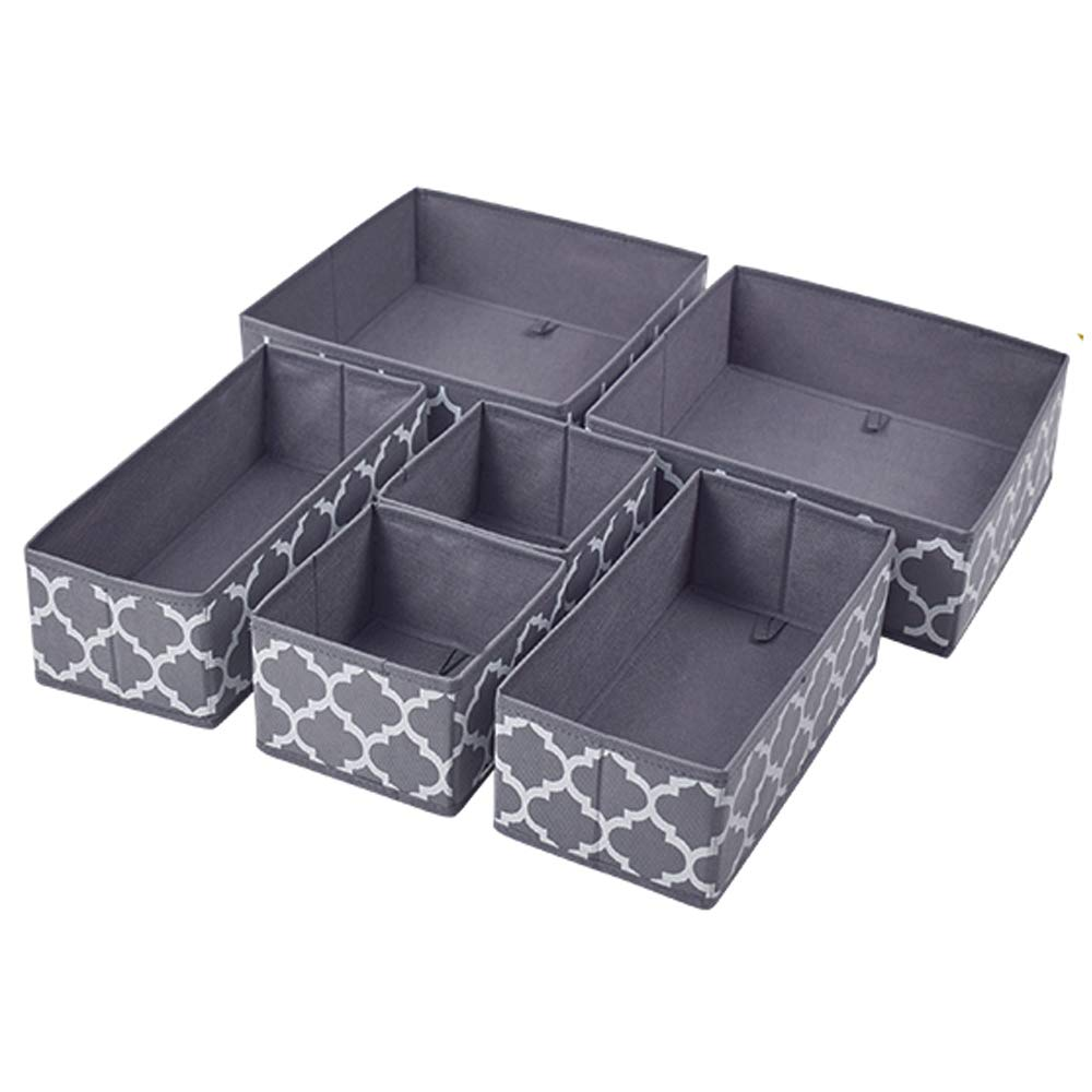 Homyfort Set of 6 Foldable Closet Dresser Organizer Drawer Divider , Underwear Baby Clothes Cube Storage Bins for Bras, Socks, Undergarments, Scarves (Grey Lantern Printing)