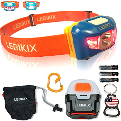 Brightest IMPROVED LED Headlamp Flashlight Backpacking Lightweight Portable Head Lamp TORCH Night Light for Runners Bicycles, Perfect Camping Gift Kit w 3AAA Batteries Lantern Waterproof Box (Bike Bicycle Headlight Torch Lamp)