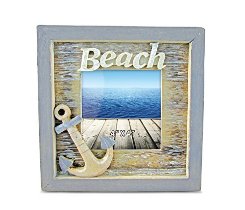Puzzled Beach 4 x 4 Distressed Wooden Photo Frame, 3D Ocean Anchor Decoration Rustic Finish Handcrafted for Tabletops Office Family Desktop Accent Accessory - Nautical Coastal Themed Home Decor ()