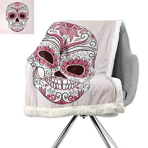 ScottDecor Sugar Skull Berber Fleece Blanket,Mexican Ornaments Calavera Catrina Inspired Folkloric Art Macabre,Pink Pale Pink White,Print Summer Quilt Comforter W59xL31.5 Inch