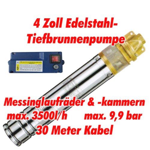 Agora-Tec® AT- 4 Brunnenpumpe 1100W mit 30 m Kabel Edelstahl-Tiefbrunnenpumpe mit Messinglaufrädern und max: 9,9 bar, max: 3000 l/h