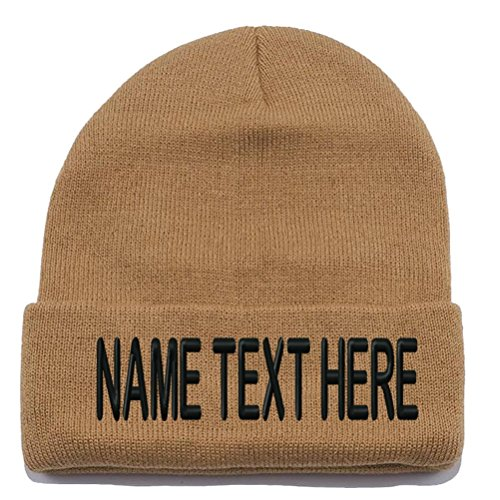 Soccer 1 Embroidery (Custom Embroidery Personalized Name Text Ski Toboggan Knit Cap Cuffed Beanie Hat - Khaki)
