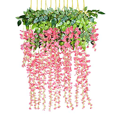 12 Pack 1 Piece 3.6 Feet Artificial Fake Wisteria Vine Ratta Hanging Garland Silk Flowers String Home Party Wedding Decor (Pink) -
