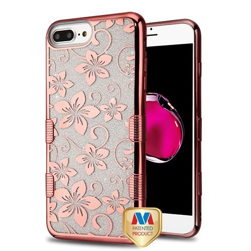 Electroplating Rose Gold Hibiscus Flower (Transparent Clear) Full Glitter TUFF Hybrid Protector Cover (with Package) for Apple iPhone 6s Plus/6 Plus Apple iPhone 8 Plus/7 Plus