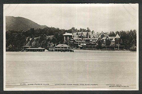 Boat Clubhouse - Lake Placid Club Lakeside Club House & Boat Houses NY RPPC postcard 1909