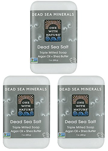 DEAD SEA Salt SOAP 3 PK - Shea Butter, Argan Oil, Magnesium, Sulfur, Minerals. All Skin Types, Problem Skin. Acne Treatment, Eczema, Psoriasis, Therapeutic, Natural, Fragrance Free, 7 oz Bars (Treatment Dead Psoriasis Sea)