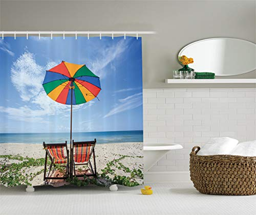 Ambesonne Seaside Decor Collection, A Pair of Chairs and Colorful Umbrella on the Beach Seaside Picture, Polyester Fabric Bathroom Shower Curtain, 75 Inches Long, Blue Red Yellow Green (Umbrella Sc Myrtle Beach Beach)