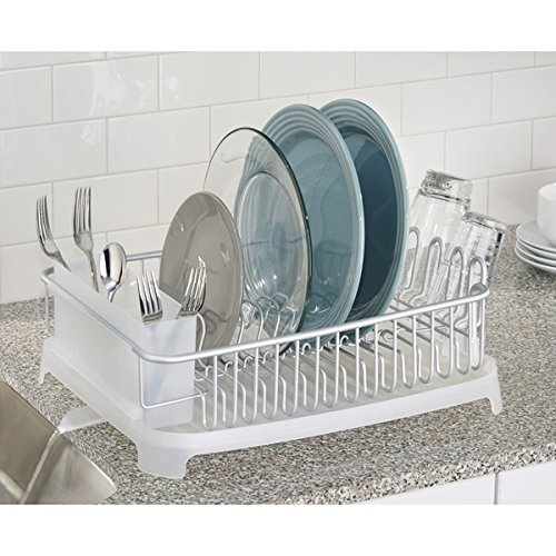mDesign Rustproof Aluminum Dish Drainer with Swivel Spout for Kitchen - Silver/Frost