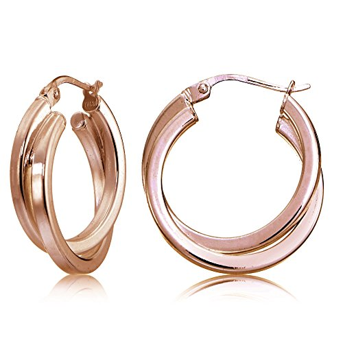 Rose Gold Flash Sterling Silver Square-Tube Double Twisted 25mm Round Hoop Earrings (Hoop Mm Round 25)