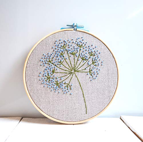 Embroidery Hand Art Hoop - Blue wild flowers embroidery hoop art Floral wall art Hand embroidered Framed room decor Beginner hand stitched Botanical gift