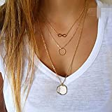 jewelry Aukmla Pendant Choker Necklace Jewelry with 3 Layers for Women and Girls