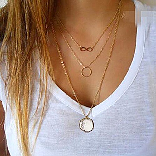 Aukmla Pendant Choker Necklace Jewelry with 3 Layers for Women and Girls