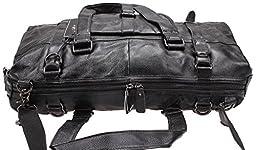 Iblue Full Grain Leather Travel Duffle Bag Laptop Shoulder Handbag 20.5in #2732 (black)