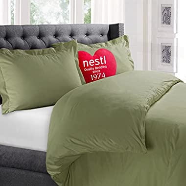Nestl Bedding Duvet Cover, Protects and Covers your Comforter / Duvet Insert, Luxury 100% Super Soft Microfiber, Queen Size, Color Sage Green, 3 Piece Duvet Cover Set Includes 2 Pillow Shams