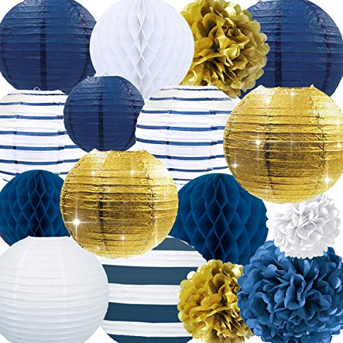 NICROLANDEE Nautical Party Supplies Glitter Gold and Stripe Paper Lanterns Navy Blue Tissue Pom Poms Hanging Honeycomb Ball for Birthday Wedding Bridal Shower Wall Decor (Nautical) -