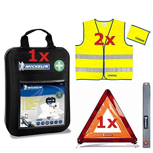 MICHELIN KFZ-Sicherheitspaket (2x Warnweste - Norm EN 471 Klasse 3, 1x Verbandtasche nach DIN 13164:2014, 1x Warndreieck)