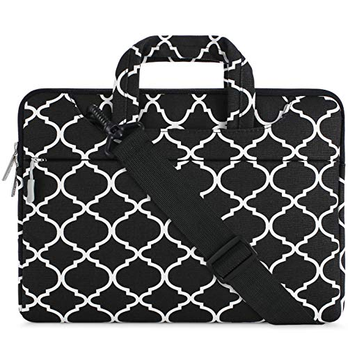 Carrying Case Briefcase - MOSISO Laptop Shoulder Bag Compatible 15-15.6 Inch MacBook Pro, Ultrabook Netbook Tablet, Canvas Geometric Pattern Protective Briefcase Carrying Handbag Sleeve Case Cover, Black Quatrefoil