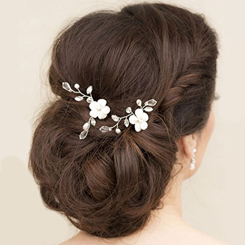 Adflyco Bride Wedding Hair Pins Flower Headpieces Crystal Hair Accessories for Women and Girls (Pack of 2)(Silver)]()