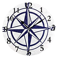 Dozili Nautical Compass Round Wall Clock Arabic Numerals Design Non Ticking Wall Clock Large for Bedrooms,Living Room,Bathroom