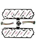 BLACKHORSE-RACING Valve Cover Gaskets + Harness Glow Plugs + BK Relay For 7.3L Ford Powerstroke 1999-2003 (615-201, F81Z-6584-AA)