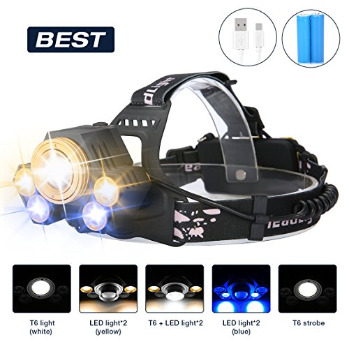 LED Headlamp,SGODDE 5 Modes Headlight,USB Rechargeable Zoomable Flashlight,Super Bright 8000 Lumens Waterproof Head Torchlight for Outdoor Hiking,Running,Camping- Batteries included&USB Cable included (Bright Led Flashlight Blue 6)